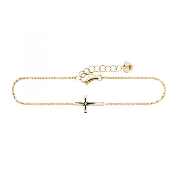 cai Armband 925/- Sterling Silber vergoldet Zirkonia Kreuz