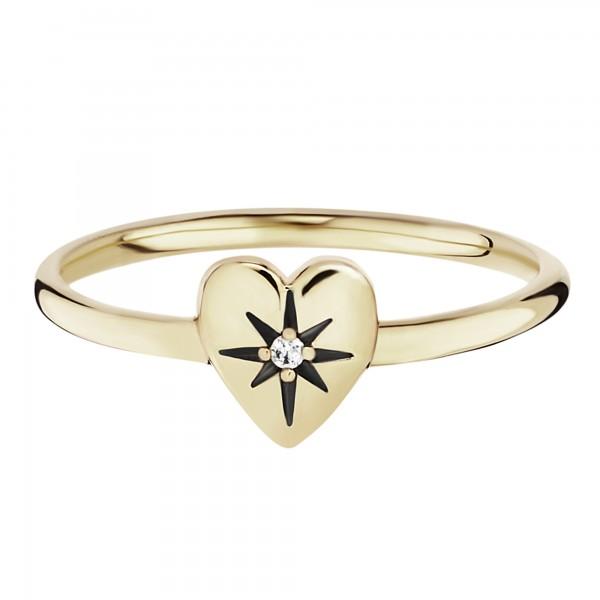 cai Ring 925/- Silber vergoldet Zirkonia Herz
