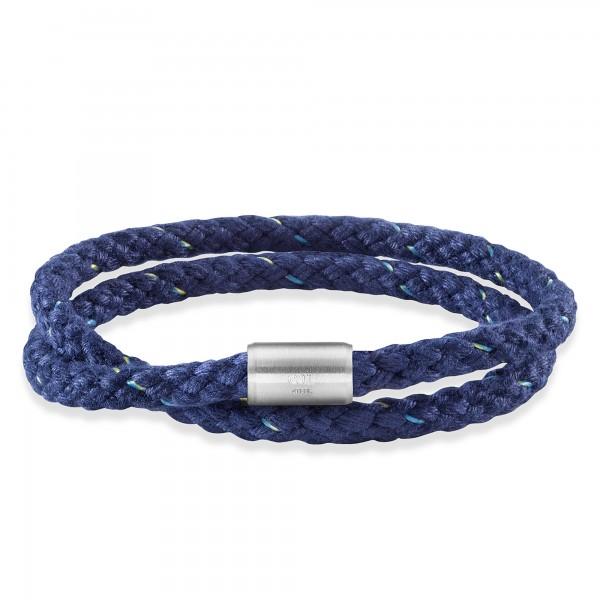 cai Armband Edelstahl Textil blau 23cm Magnetverschluß
