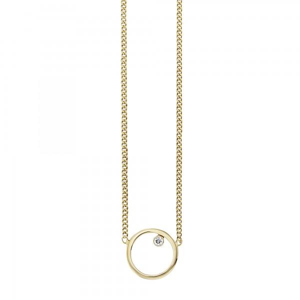 cai Collier 925/- Sterling Silber vergoldet Zirkonia Kreis