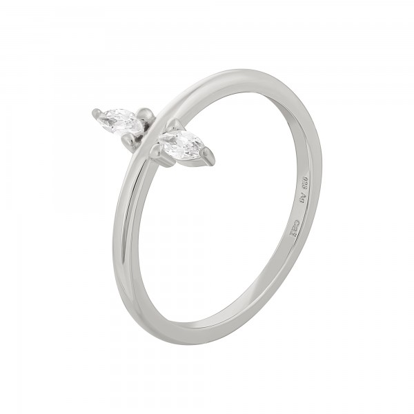 cai Ring 925 Silber rhodiniert mit Zirkonia