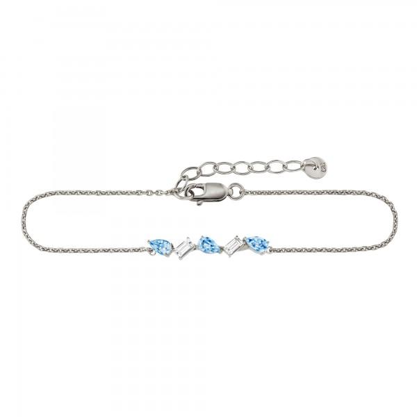 cai 925/- Sterling Silber Weiß- und Blautopas Armband