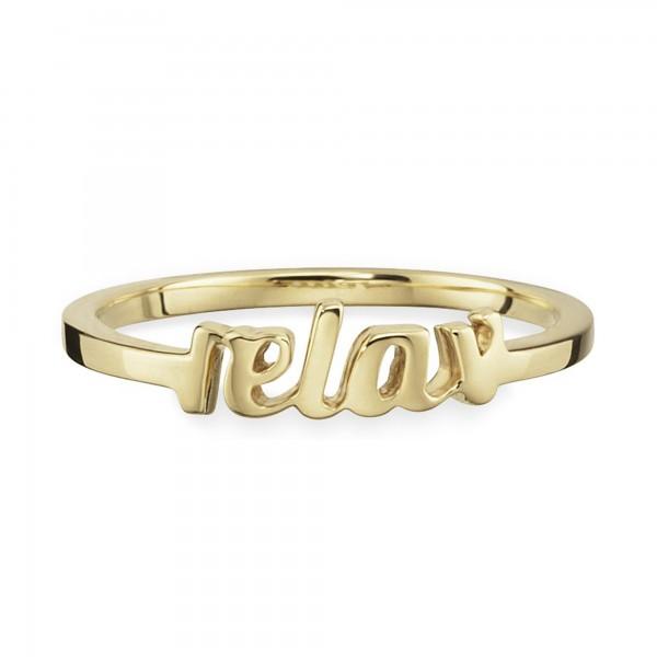 cai Ring 925/- Silber vergoldet Schriftzug relax