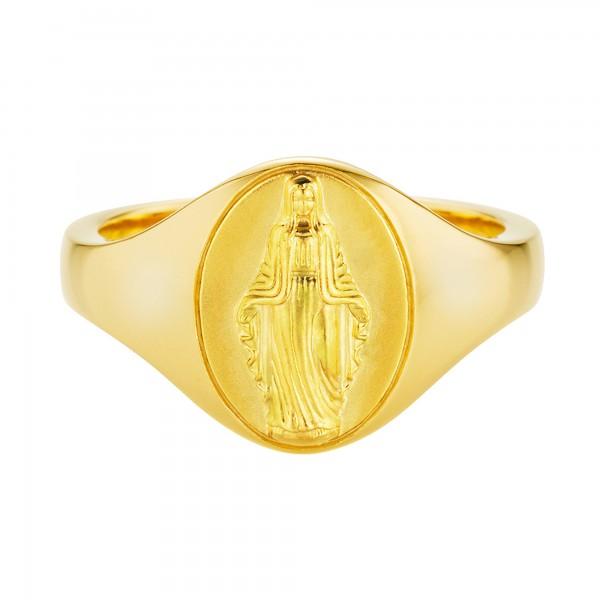 cai Ring 925/- Silber vergoldet Madonna Siegelring