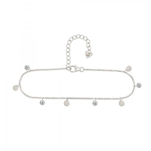 cai Fußkette 925/- Sterling Silber rhodiniert Anhänger Plättchen Zirkonia