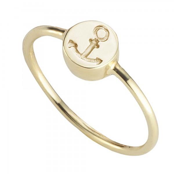 cai Ring 925/- Sterling Silber vergoldet Anker