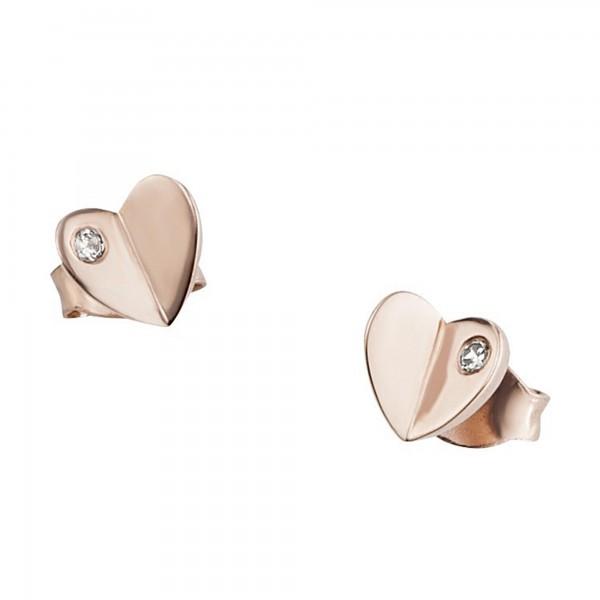 cai Ohrstecker 925/- Sterling Silber rotvergoldet Zirkonia
