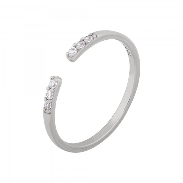 cai Ring 925/- Sterling Silber rhodiniert offen Zirkonia Stacking