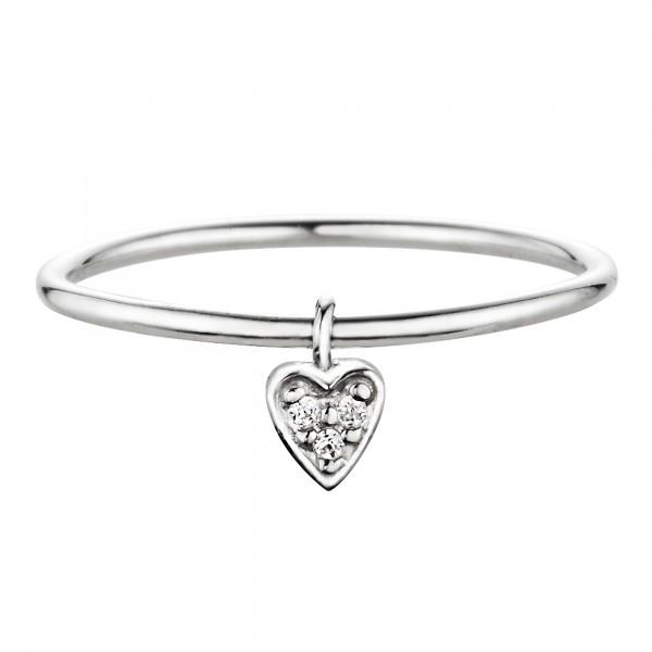 cai Ring 925/- Silber rhodiniert Herz mit Zirkonia