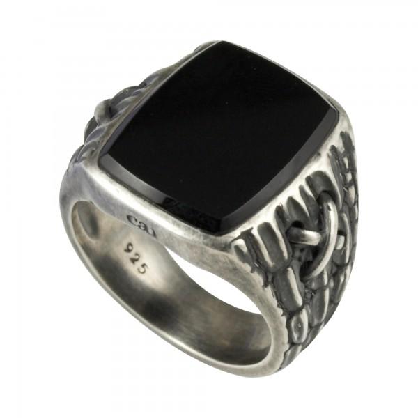 cai Ring 925/- Sterling Silber matt oxidiert Onyx