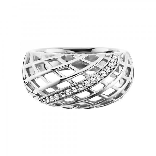 cai Ring 925/- Sterling Silber rhodiniert Topas Gitterstruktur