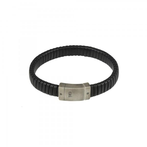 cai Armband 925 Silber oxidiert Lederband schwarz Magnetverschluss