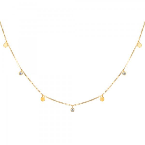 cai Collier 925/- Sterling Silber vergoldet Anhänger Plättchen Zirkonia