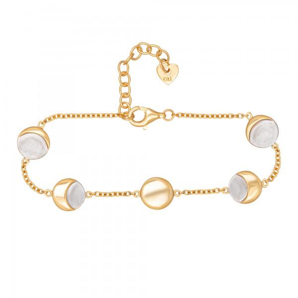 cai 925/- Sterling Silber bicolor Mondzyklus Luna Armband
