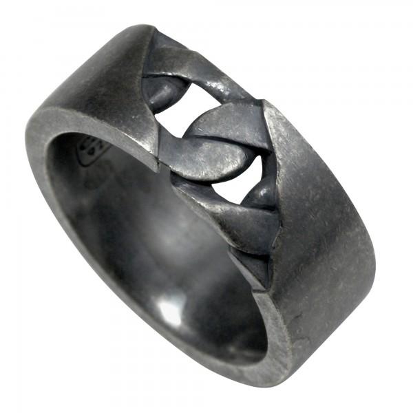 cai Ring 925/- Sterling Silber matt oxidiert schwarz