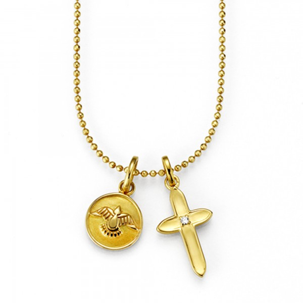 cai Anhänger mit Kette 925/- Sterling Silber vergoldet Zirkonia Kreuz Taube