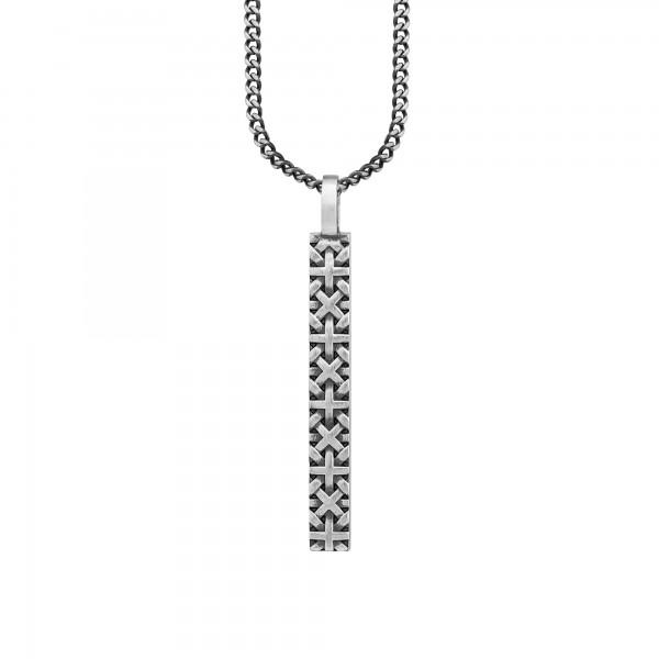 cai 925/- Silber matt oxidiert Flechtoptik Anhänger mit Kette