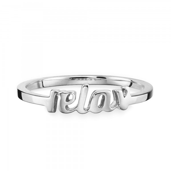 cai 925/- Silber rhodiniert Schriftzug relax Ring