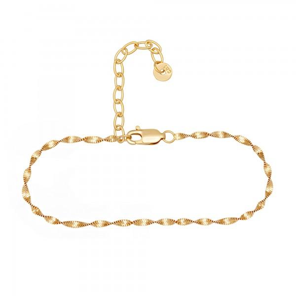cai Fußkette 925/- Sterling Silber vergoldet Flachpanzer Kette gedreht
