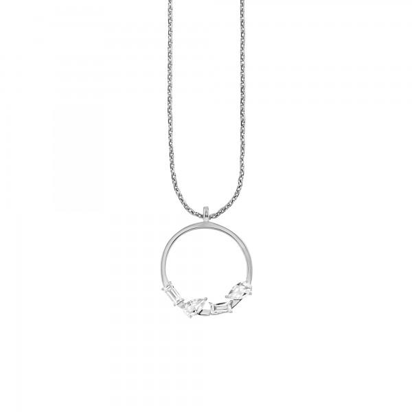 cai Halskette 925/- Sterling Silber rhodiniert Weißtopas