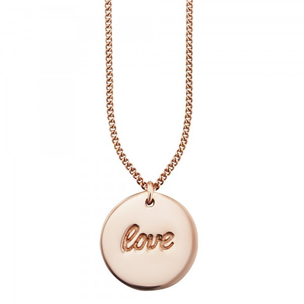 cai Anhänger mit Kette 925/- Sterling Silber rotvergoldet LOVE