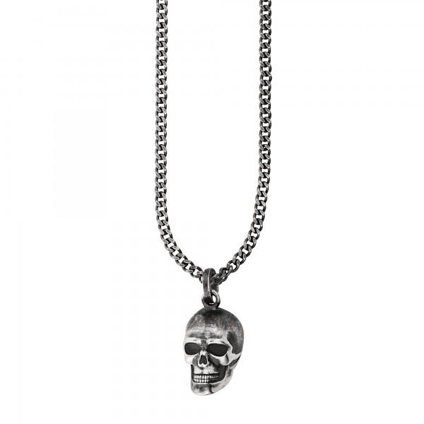 cai 925/- Sterling Silber oxidiert Anhänger mit Kette Totenkopf