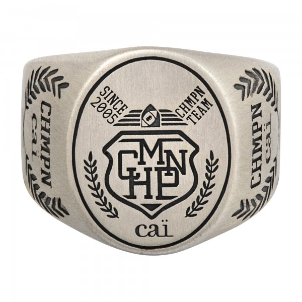 cai Ring 925/- Sterling Silber Siegelring satiniert oxidiert Champion Wappen