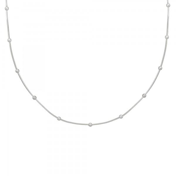 cai Collier 925/- Sterling Silber Schlangenkette vierseitig diamantiert mit Kugeln rhodiniert