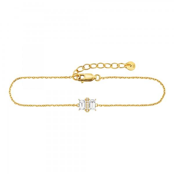 cai 925/- Sterling Silber vergoldet 20cm Weißtopas Armband