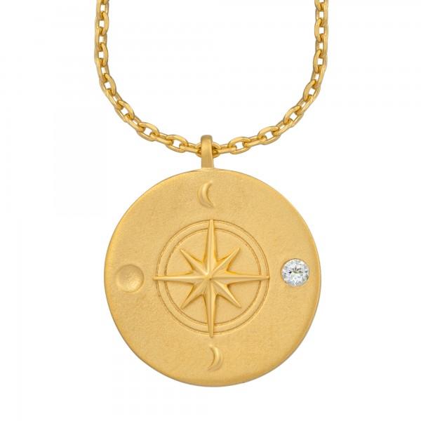 cai Halskette Element Wasser 925/- Sterling Silber vergoldet Weißtopaz