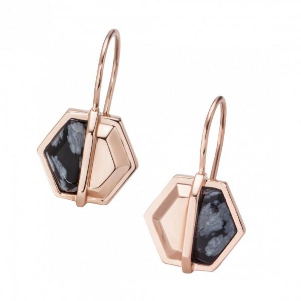 cai Creolen 925/- Silber rotvergoldet Hexagon Sechseck Obsidian