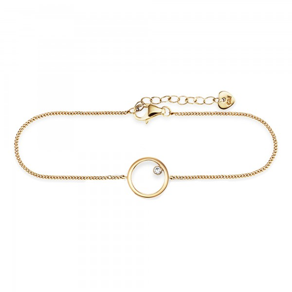 cai 925/- Sterling Silber vergoldet Zirkonia Kreis Armband