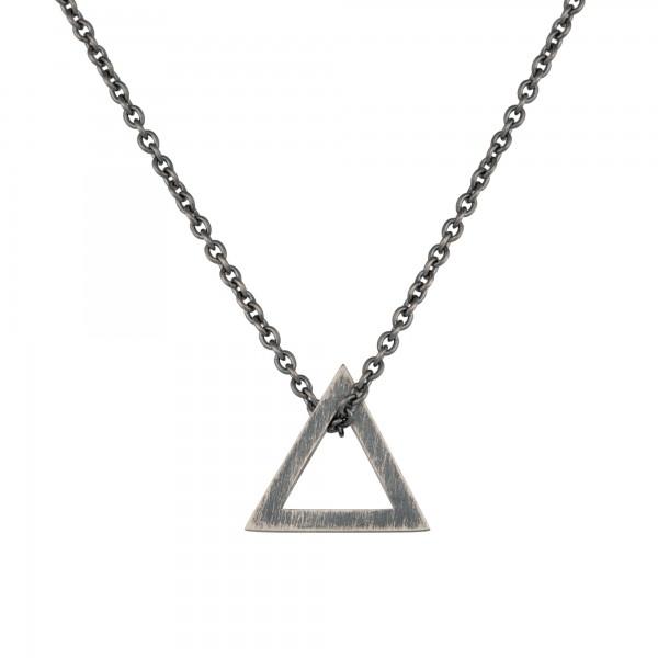 cai Anhänger mit Kette 925/- Silber matt oxidiert Dreieck
