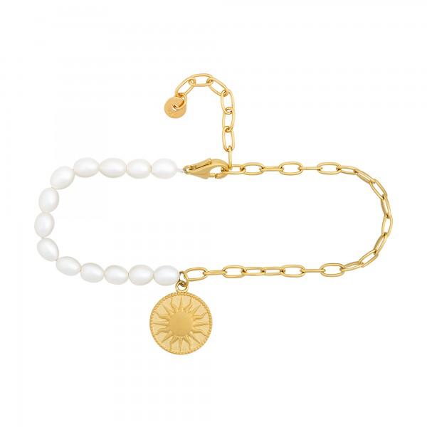 cai Fußkette 925 Silber Perlen Münze vergoldet Sonne Mond