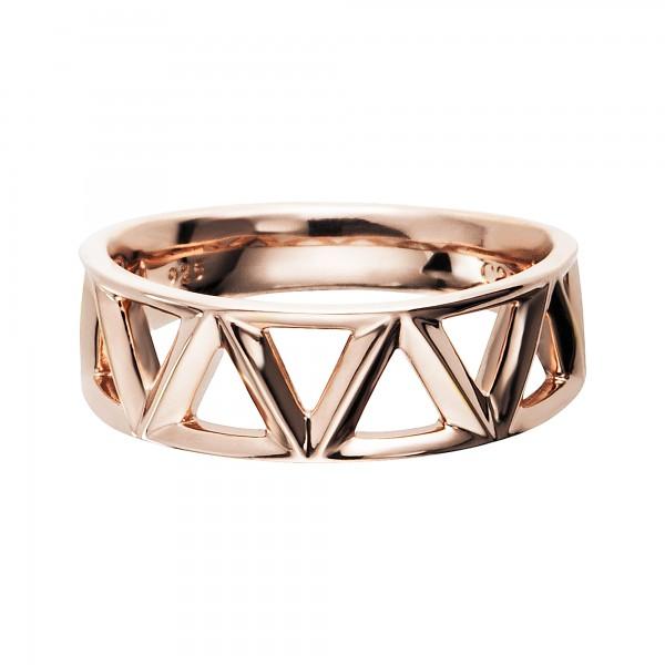 cai Ring 925/- Sterling Silber rotvergoldet Dreiecke