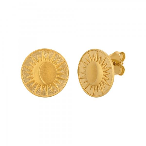 cai Ohrstecker 925 Silber vergoldet Münze Sonne