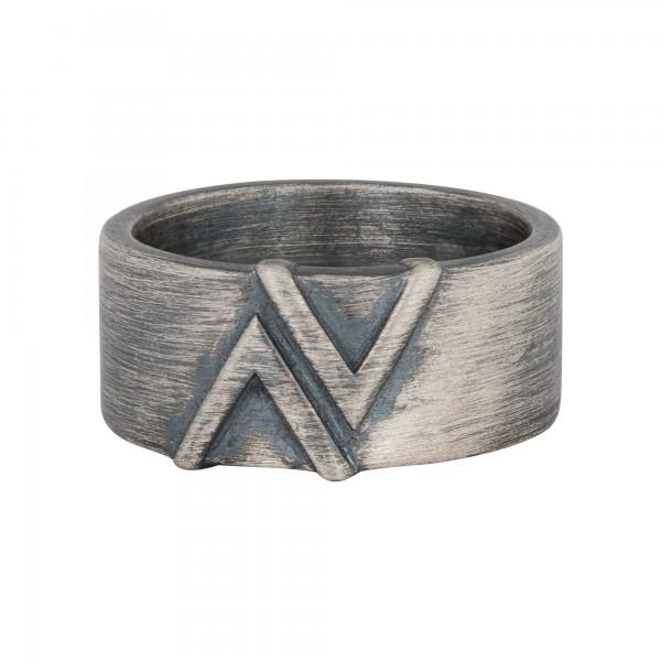 cai Ring 925/- Sterling Silber matt oxidiert Dreieck