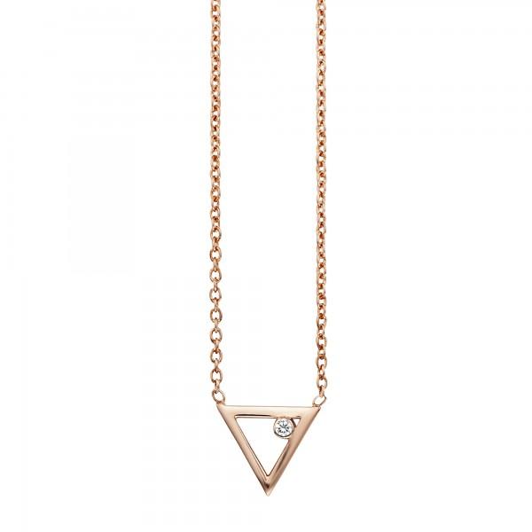 cai Collier 925/- Sterling Silber rotvergoldet Zirkonia Dreieck