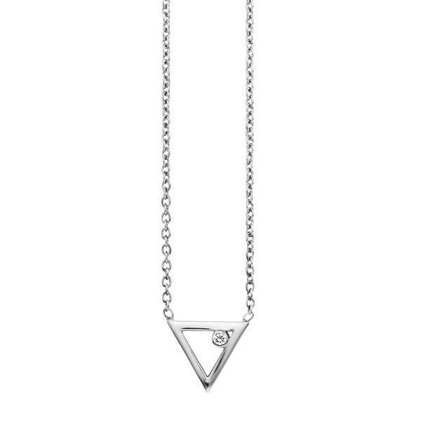 cai 925/- Sterling Silber rhodinert Zirkonia Dreieck Collier