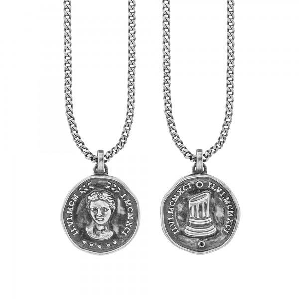 cai Anhänger mit Kette 925/- Sterling Silber oxidiert Münze Spinell