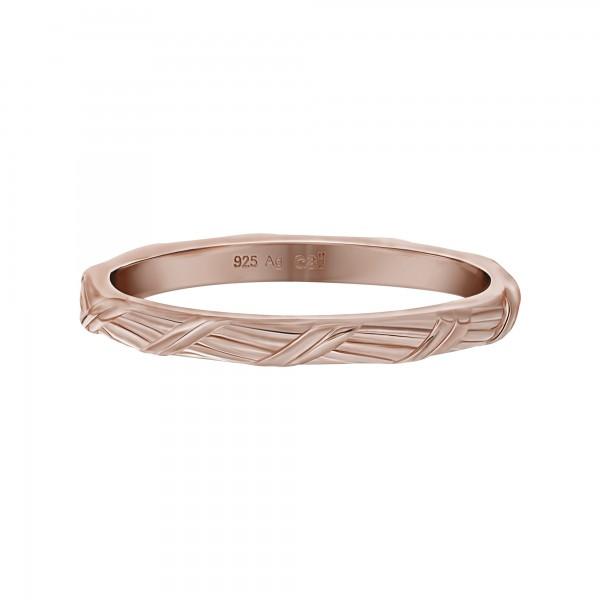 cai Ring 925 Silber rosévergoldet Flechtoptik Stacking