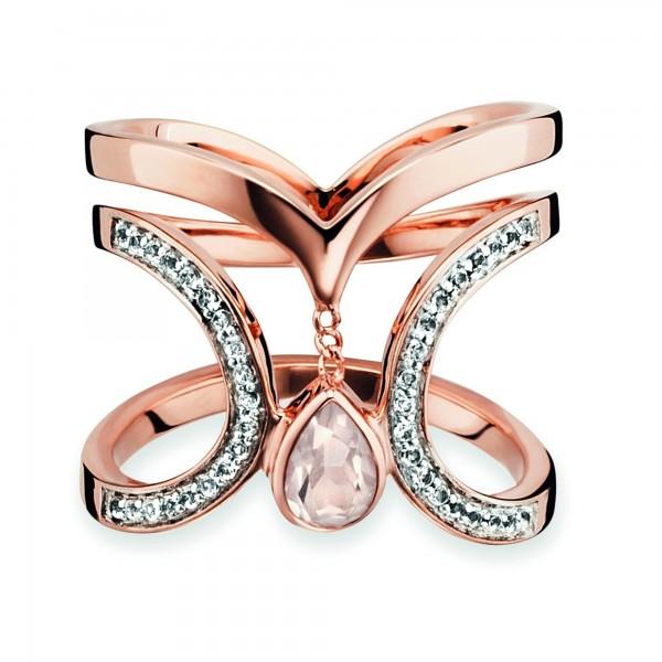 cai Ring 925/- Silber rotvergoldet Rosenquartz Topas