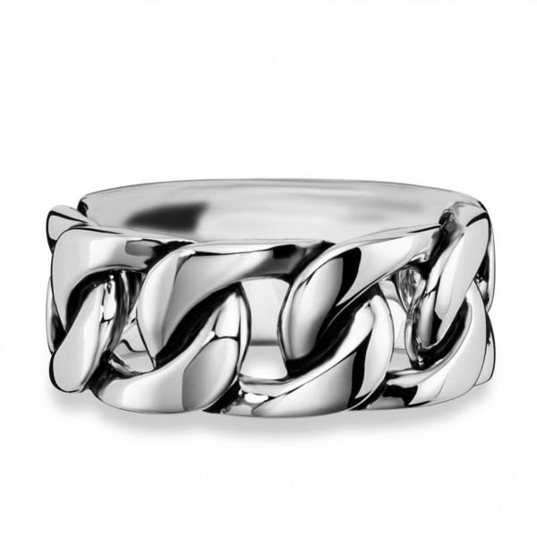 cai Ring 925/- Sterling Silber rhodiniert Ketten-Optik