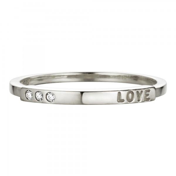 cai Ring 925/- Sterling Silber rhodiniert Zirkonia Love