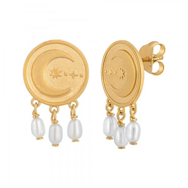 cai Ohrstecker 925 Silber vergoldet Münze Mond Perlen