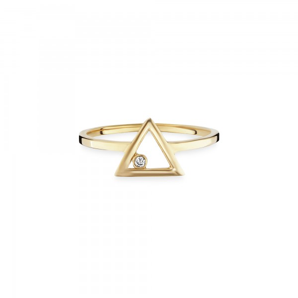 cai Ring 925/- Sterling Silber vergoldet Zirkonia Dreieck