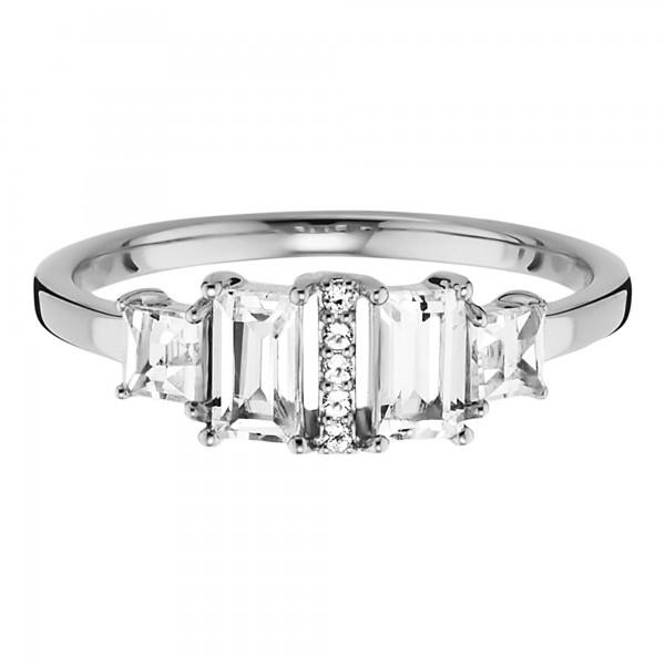 cai Ring 925/- Sterling Silber rhodiniert mit Weißtopas
