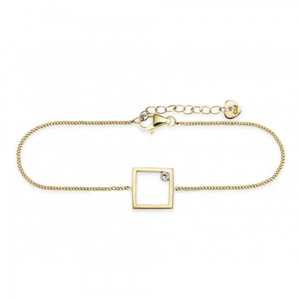 cai Armband 925/- Sterling Silber vergoldet Rechteck Zirkonia
