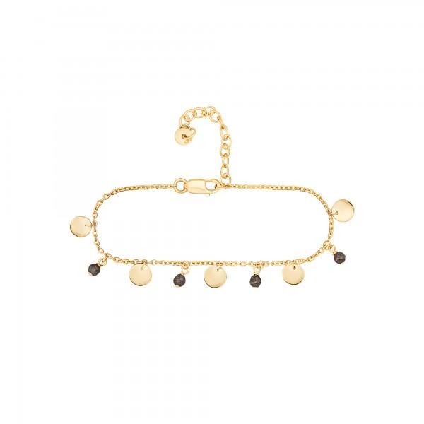 cai Armband 925 Silber vergoldet Hämatit Plättchen