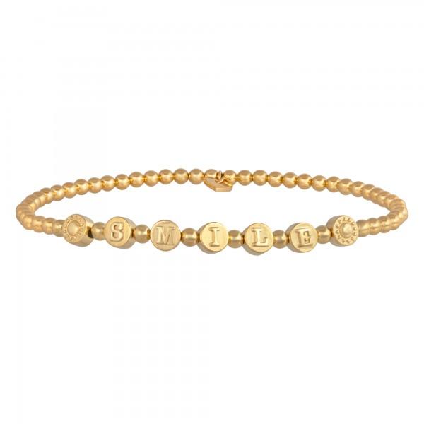 cai Stretch-Armband 925/- Sterling Silber vergoldet Smile
